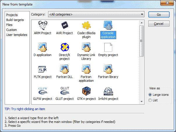 Code::Blocks Project Dialog