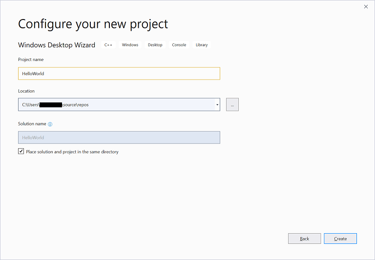 Visual Studio 2019 Configure New Project dialog