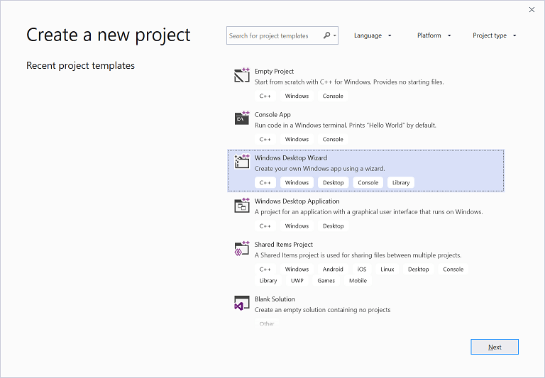 Visual Studio 2019 Create New Project dialog