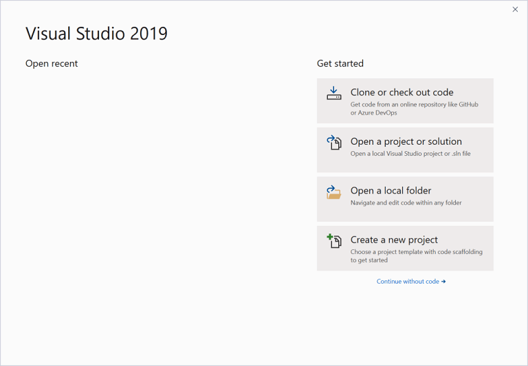 Visual Studio 2019 Get Started dialog