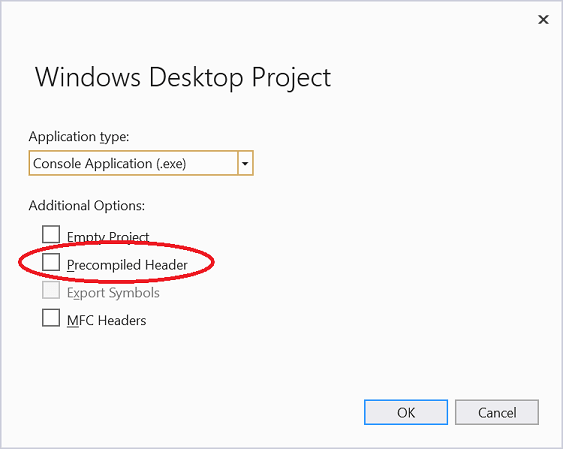 Visual Studio 2019 Project options dialog